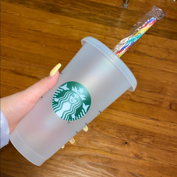 Starbucks cup with rainbow straw